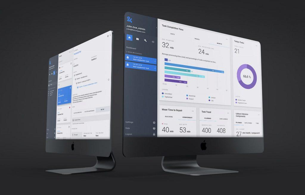 PC-Monitore, die beispielhaft Instandhaltungssoftware zeigen
